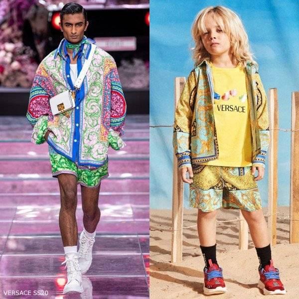 Young Versace Boy Mini Me Le Pop Classique Print Green Gold Shirt Shorts