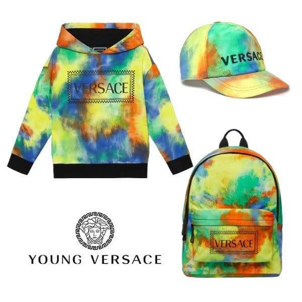 Young Versace Boys Mini Me Tie Dye 90s Vintage Logo Sweatshirt SS20