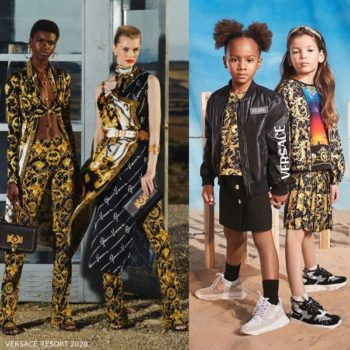 Young Versace Girl Mini Me Black Bomber Jacket & Gold Barocco Signature Print Shirt & Skirt