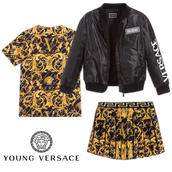 Young Versace Girl Mini Me Black Gold Barocco Signature Print Shirt & Skirt SS20