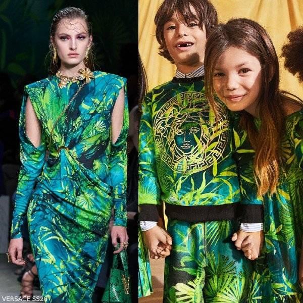 Young Versace Girl Mini Me Green Jungle Print Silk Dress
