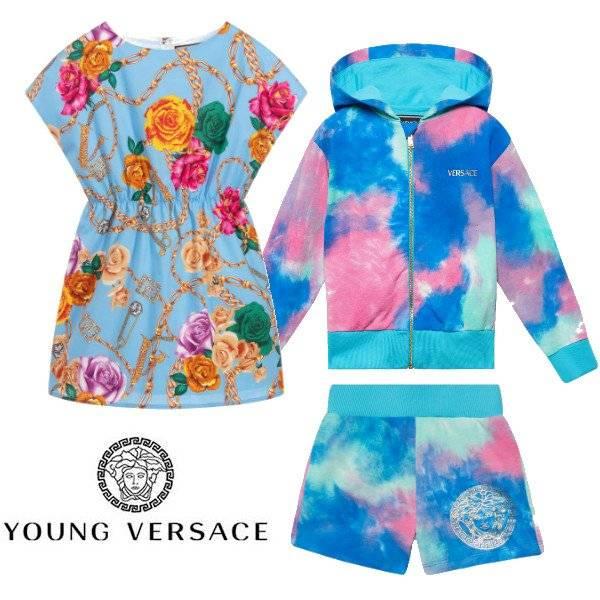 Young Versace Girl Mini-Me Tie-Dye Sweatshirt & Blue Floral Chain Print Dress ss20