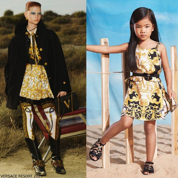 Young Versace Girl Mini Me White Gold Baroque Print Dress