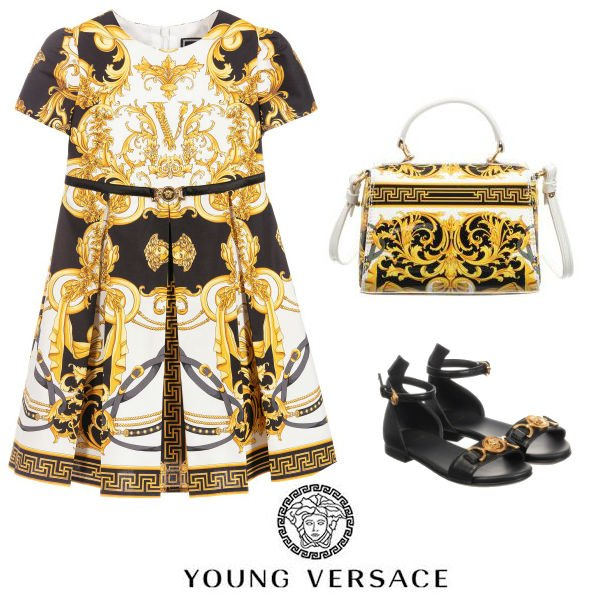 Young Versace Girl Mini Me White & Gold Baroque Rodeo Print Dress Spring 20
