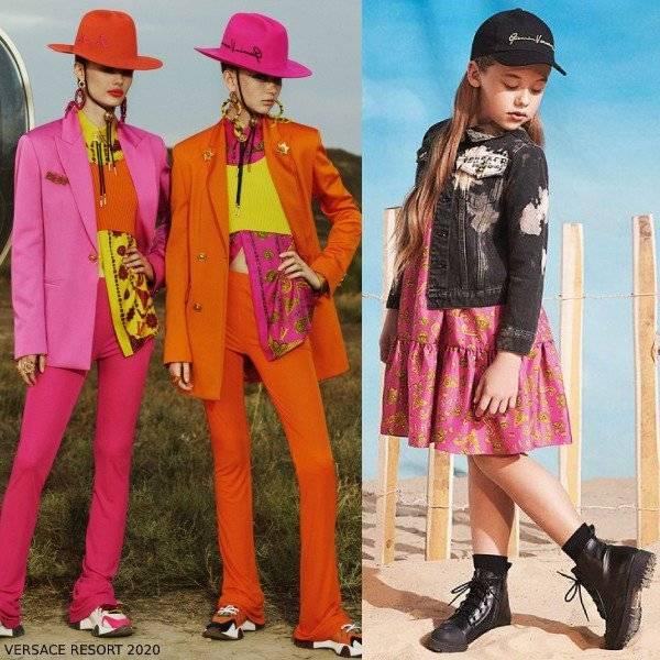 Young Versace Girls Mini Me Fuchsia Pink Gold Barocco Western Print Silk Dress