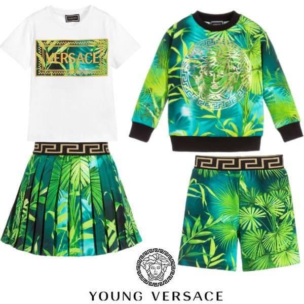 Young Versace Kids Mini Me Green Jungle Print Sweatshirt & Shorts ss20