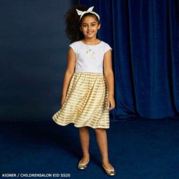 Aigner Girl White Gold Stripe Party Dress Eid 2020