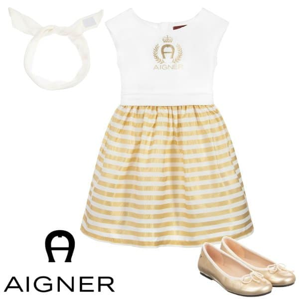 Aigner Girl White Gold Stripe Party Dress Spring 2020