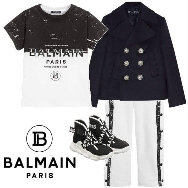 Balmain Boy Mini Me Things Have to Change Black & White T-Shirt Jogger Logo Pants Spring 2020