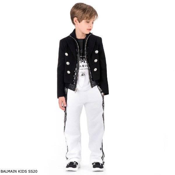 Balmain Boy Mini Me Things Have to Change Black & White T-Shirt Jogger Logo Pants
