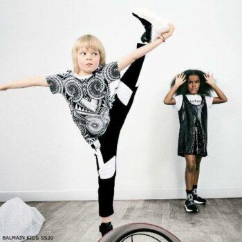 Balmain Boys Mini Me Black & White Abstract Print Shirt Black Logo Jogger Pants