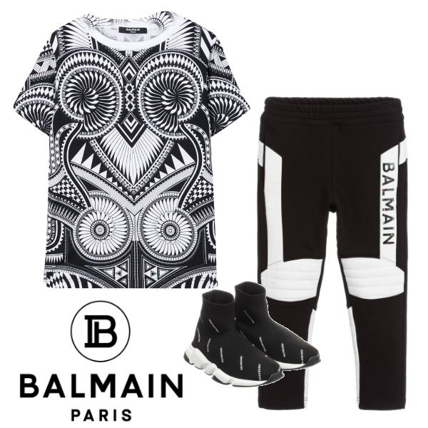 Balmain Boys Mini Me Black & White Abstract Print Shirt Black Logo Jogger Pants Spring 2020