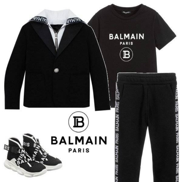 Balmain Boys Mini Me Black Blazer & White Tape Logo Print Joggers Spring 2020