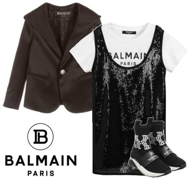 Balmain Girl Mini Me Black Sleeveless Sequin Dress White Logo T-shirt