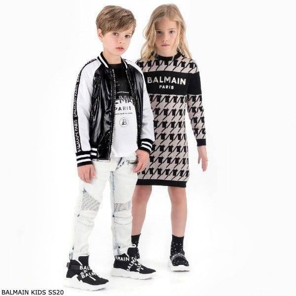 Balmain Girls Mini Me Pink Black Houndstooth Pattern Knit Dress Boys Black & White Logo Sweatshirt