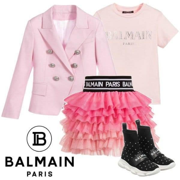 Balmain Girls Mini Me Pink Glitter Blazer Pink Tulle Logo Skirt Spring 2020