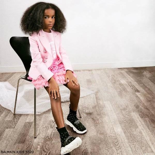 Balmain Girls Mini Me Pink Glitter Blazer Pink Tulle Logo Skirt