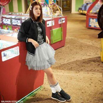 Balmain Girls Mini Me Silver Tutu Skirt Black Bamber Jacket
