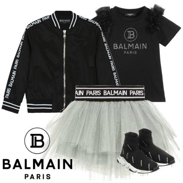 Balmain Girls Mini Me Silver Tutu Skirt Black Bamber Jacket Spring 2020