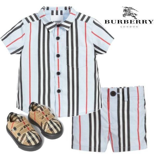 Burberry Baby Boys Blue & Red Stripe Cotton Shirt & Shorts