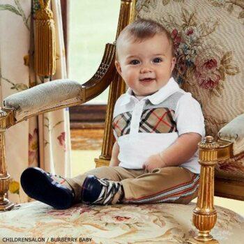 Burberry Baby Boys White Vintage Check Polo Shirt Beige Logo Pants