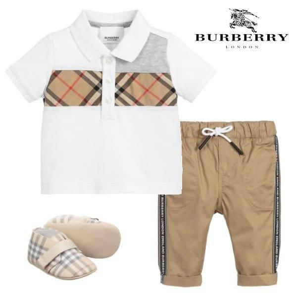 Burberry Baby Boys White Vintage Check Polo Shirt Beige Logo Pants Spring 2020