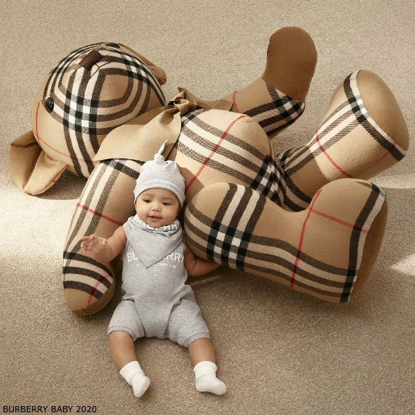 Burberry Baby Grey Cotton Shortie Bear Gift Set