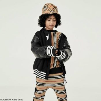 Burberry Boys Mini Me Black Kingdom Star Jacket Beige Stripe Sweatshirt & Joggers