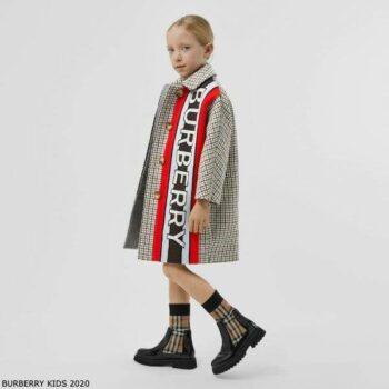 Burberry Girl Brown Houndstooth Check Tweed Wool Coat Logo Panel