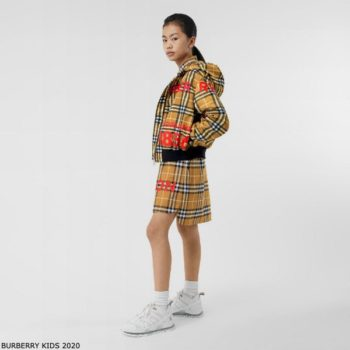 Burberry Girl Mini Me Brown Horseferry Print Check Hooded Jacket Shirt Dress