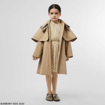 Burberry Girls Beige A-line Trench Coat & Vintage Check Cotton Dress