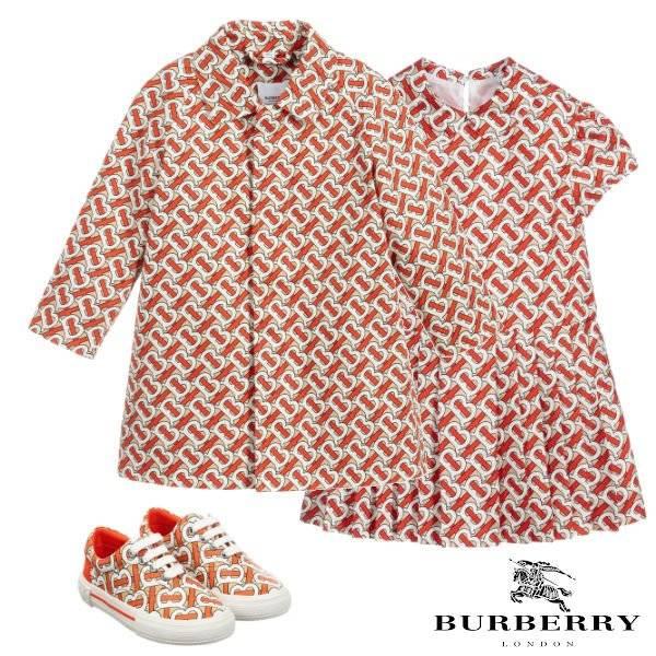 Burberry Girls Red Monogram Print Cotton Car Coat Dress Spring 2020