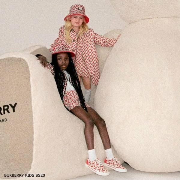 Burberry Girls Red Monogram Print Cotton Car Coat Dress