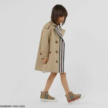Burberry Kids Beige Monogram Stripe Print Cotton Trench Coat