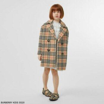 Burberry Kids Beige Vintage Check Alpaca Wool Pea Coat Spring 2020