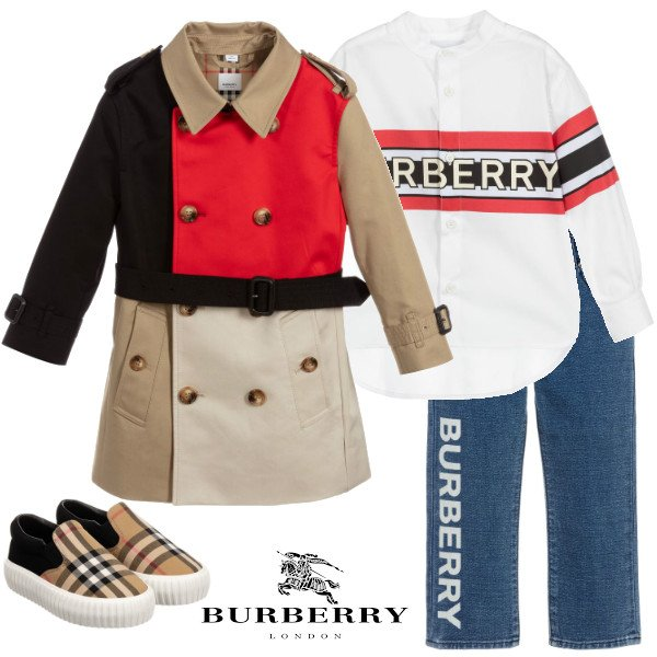 Burberry Kids Black Beige & Red Cotton Trench Coat