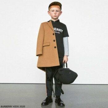 Burberry Kids Brown Tailored Cashmere Coat Black Collar