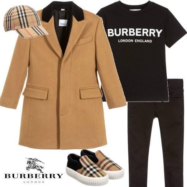 Burberry Kids Brown Tailored Cashmere Coat Black Collar Black Logo T-shirt