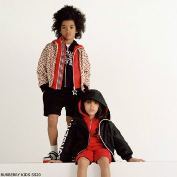 Burberry Kids Monogram Red & Beige Print Bomber Jacket
