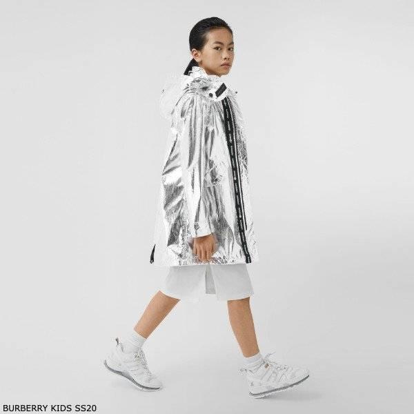 Burberry Kids Silver Metallic Nylon Hooded Parka Coat