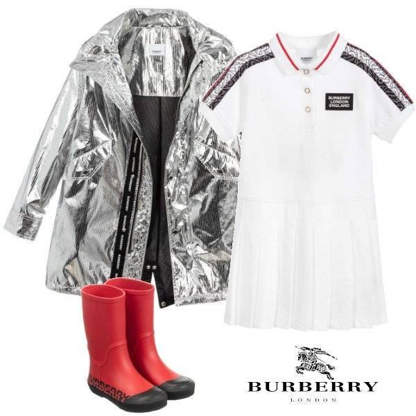 Burberry Kids Silver Metallic Nylon Hooded Parka Coat White Polo Dress