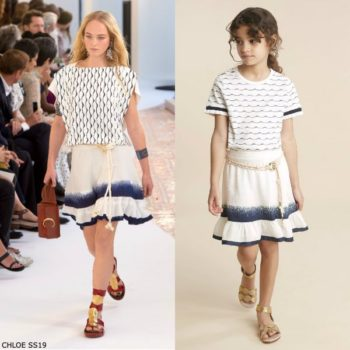 Chloe Girl Mini Me Ivory & Blue Wave Stripe Shirt & Silk Skirt