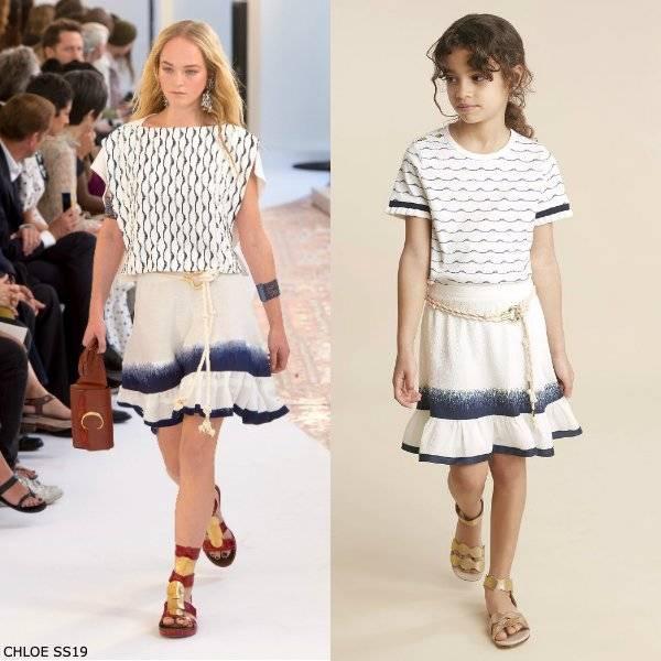 Chloe Girl Mini Me Ivory & Blue Wave Stripe Shirt & Silk Skirt