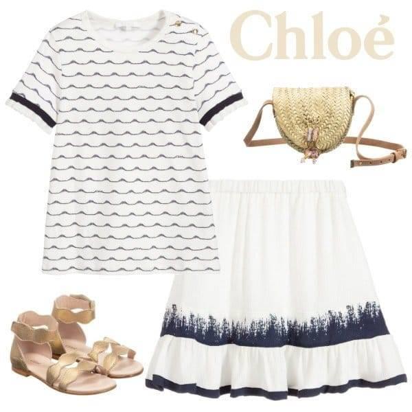 Chloe Girl Mini Me Ivory & Blue Wave Stripe Shirt & Silk Skirt Spring 2020
