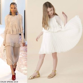 Chloe Girls Mini Me Ivory Pleated Grecian Style Special Occasion Dress