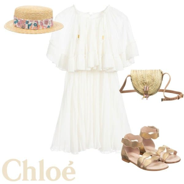 Chloe Girls Mini Me Ivory Pleated Special Occasion Dress Spring 2020