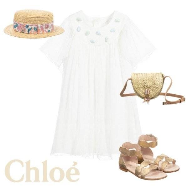 Chloe Girls Mini Me Ivory Silk Dress with Gemstones Spring 2020