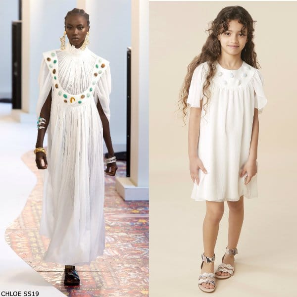 Chloe Girls Mini Me Ivory Silk Special Occasion Dress with Gemstones