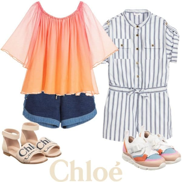 Chloe Girls Mini Me Pink Orange Silk Blouse Blue Denim Shorts White & Blue Playsuit Spring 2020