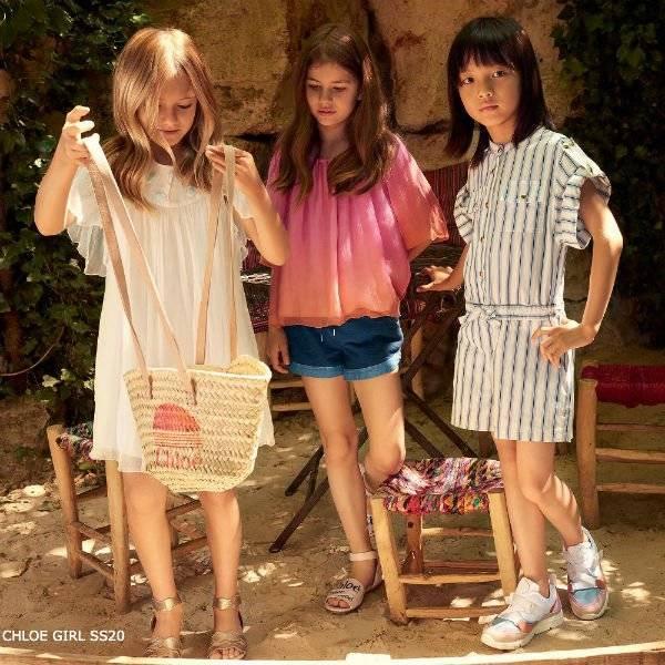 Chloe Girls Mini Me Pink Orange Silk Blouse Blue Denim Shorts White & Blue Playsuit